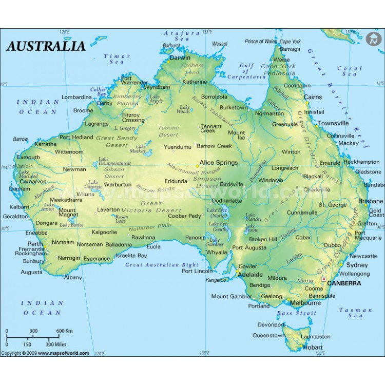 MAPS AUSTRALIA - Australia physical map